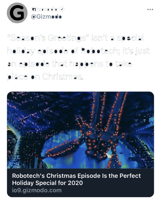 Gizmodo: Robotech's Christmas Episode is the Perfect Holiday Special for 2020