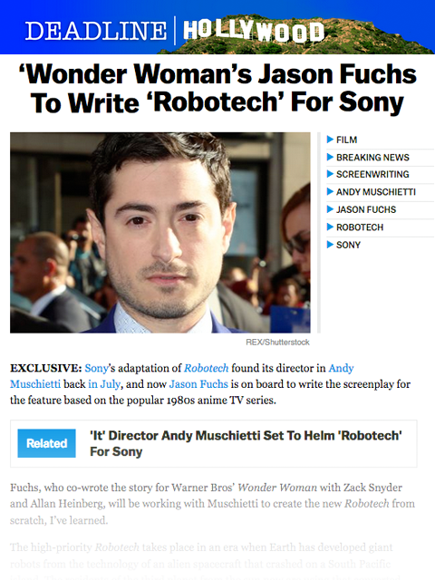 DEADLINE: Wonder Woman's Jason Fuchs to write Robotech for Sony